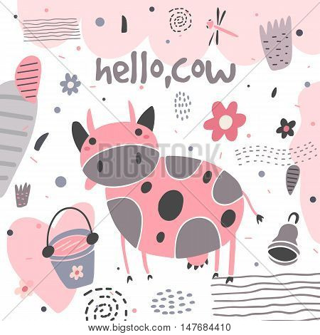 Cute hand drawn card postcard with cow flowers bucket bell dragonfly polka dots abstract elements. Background cover for children in cartoon style