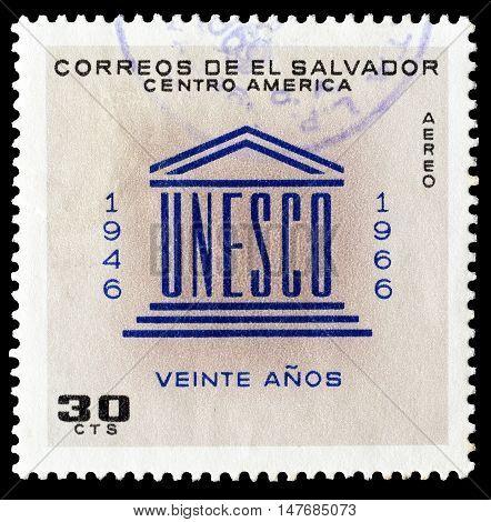 EL SALVADOR - CIRCA 1966 : Cancelled postage stamp printed by El Salvador, that shows UNESCO emblem.
