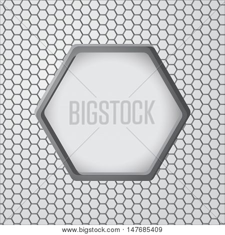 Metal background with hexagonal holes. Hexagon close up. Vector illustration