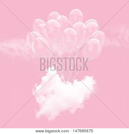 Escape conceptual -Bunch of Clear balloon holding heart beat cloud into the sky background