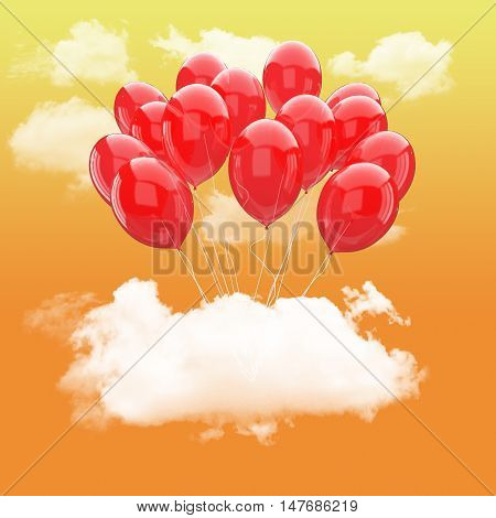 Escape conceptual-3d Bunch of red balloons holding cloud into the sky background