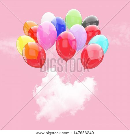 Escape conceptual- 3d balloon holding heart beat cloud into the sky background