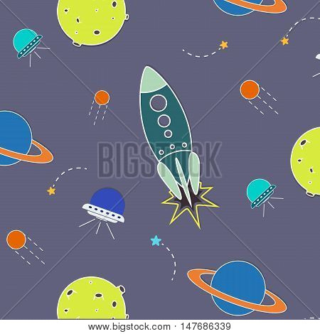 Vector space pattern. Illustration with rocket aliens shuttle planet and stars. Astronomy background. Planet cartoon objects. Cosmic planet universe wallpaper