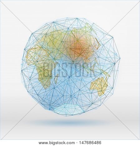 Abstract polygonal world map with dots connecting lines, network connections. Digital globe concept. Beautiful vector illustration in blue, green and terracotta colours on a light background.