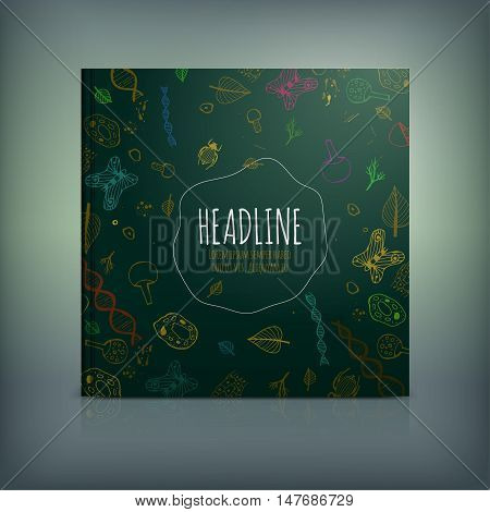 Vector biology brochure cover template. Modern background for poster, print, flyer, book, booklet, brochure and leaflet design. Editable graphic illustration in dark green and bronze colors