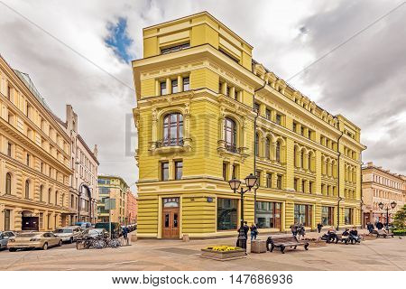 Moscow Russian Federation - September 15, 2016: Prestige apartment house on Nikoljskaja street in the historical city center.