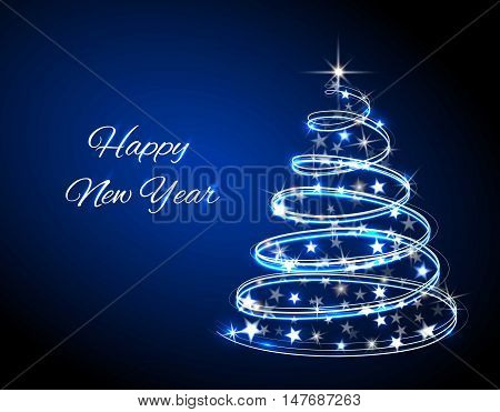 Christmas tree. Neon lights swirl. Decoration glowing line for xmas card, banner. Vector illustration.