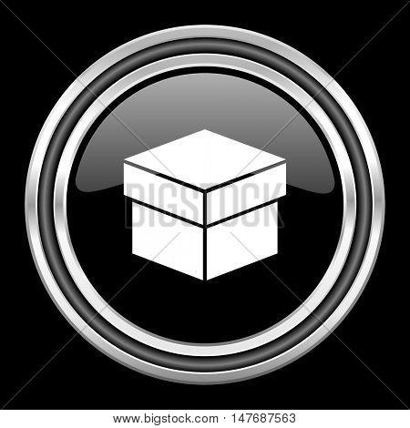 box silver chrome metallic round web icon on black background