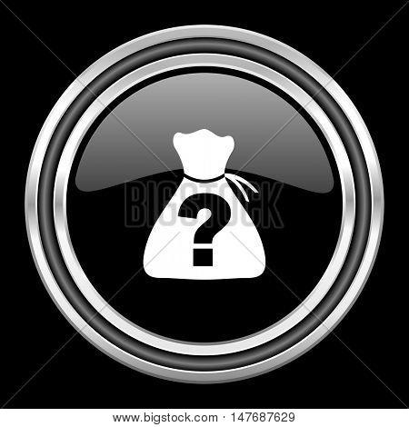 riddle silver chrome metallic round web icon on black background