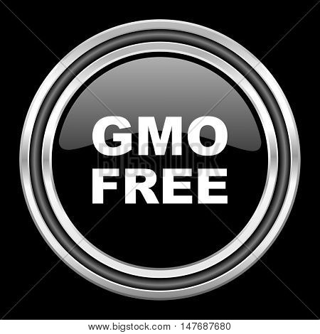 gmo free silver chrome metallic round web icon on black background
