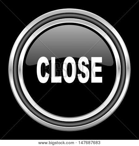 close silver chrome metallic round web icon on black background