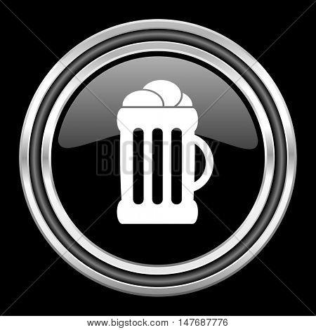beer silver chrome metallic round web icon on black background