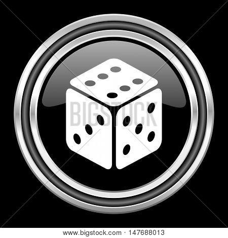 game silver chrome metallic round web icon on black background