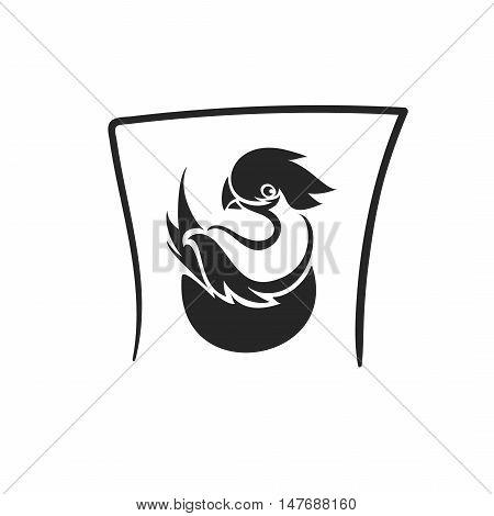 Vector bird in nest tatto symbol icon