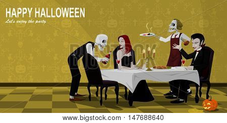 Vampire have dinner on Halloween night,let's enjoy the party, vector