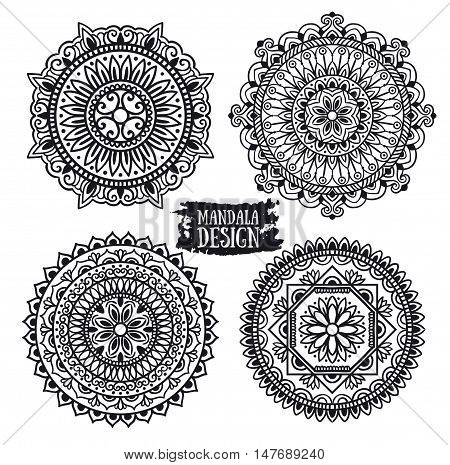 Set of ethnic mandala vector meditation. Isolated on the white background.