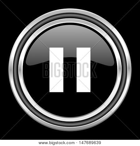 pause silver chrome metallic round web icon on black background