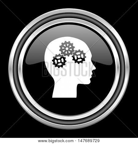 head silver chrome metallic round web icon on black background