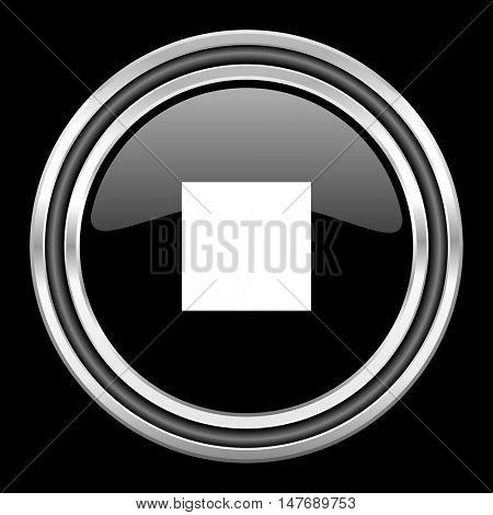 stop silver chrome metallic round web icon on black background