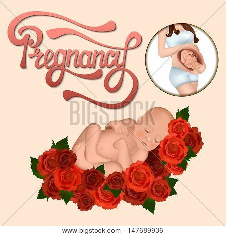 Newborn baby lying on a soft feather bed of velvet roses. Hand drawn lettering on the pregnancy. The child in the womb. Vector illustration.