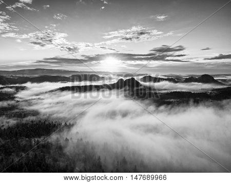 Black And White Mist, Daybreak In Beautiful Hills. Peaks Of Hills