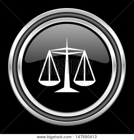 justice silver chrome metallic round web icon on black background
