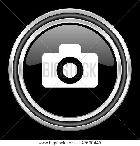 camera silver chrome metallic round web icon on black background