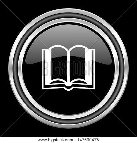 book silver chrome metallic round web icon on black background