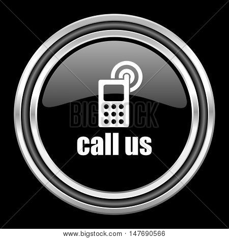 call us silver chrome metallic round web icon on black background