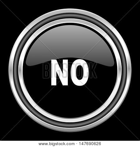no silver chrome metallic round web icon on black background