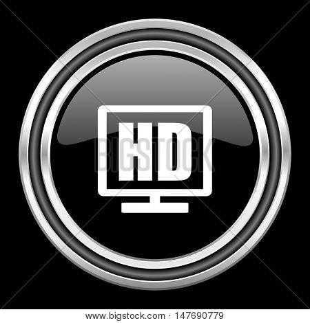 hd display silver chrome metallic round web icon on black background