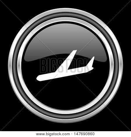 arrivals silver chrome metallic round web icon on black background