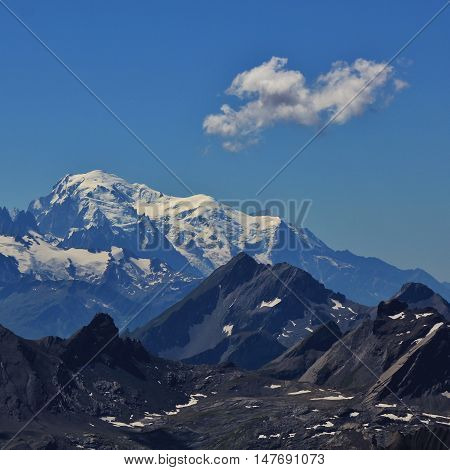 Mt Blanc. Highest mountain of the Alps. View from Glacier des Diablerets. Summer image.