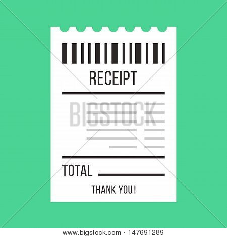 Vector sales receipt. Paper ATM Bill, cafe or restaurant cheque, receipt concepts. Flat design vector illustration