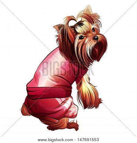 Glamorous pink pocket dog. Isolated vector illustration