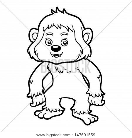 Coloring book for children, colorless animal, Yeti