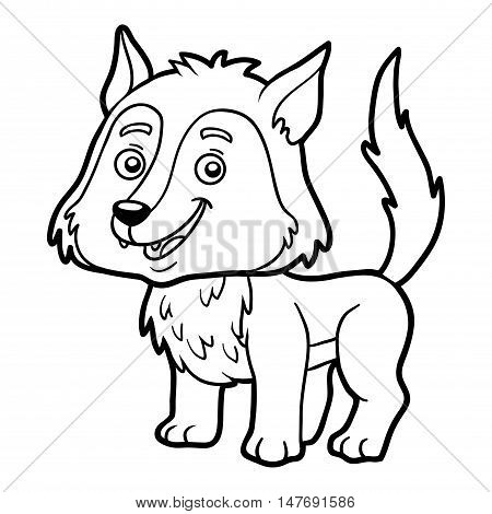 Coloring book for children, colorless animal, Wolf