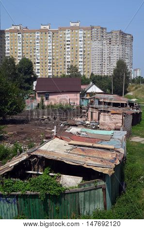 Modern residential area with detales of ukrainian countryside.July 29, 2016 in Kiev, Ukraine