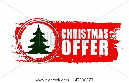 christmas offer - text and christmas tree sign on red drawn banner, business holiday concept, vector