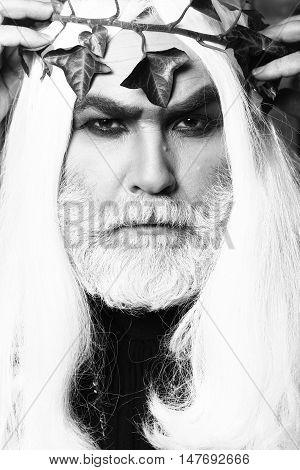 Zeus god or jupiter with vine crown. Mythology ancient Greece black and white