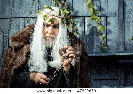 Zeus god or jupiter with vine crown in studio