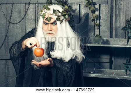Zeus god man or jupiter with enchanted apple and vine crown on long hair with beard