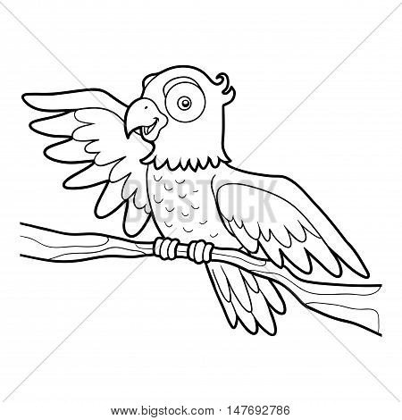 Coloring book for children, tropical bird Parrot