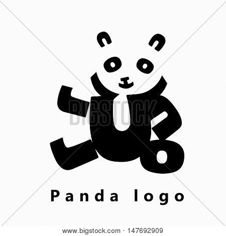 Vector image of a cute panda made of black letters on a white background. Panda logo. Typography illustration.
