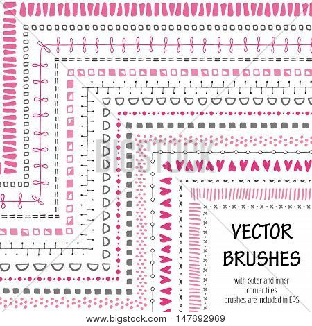 Hand drawn decorative vector brushes with inner and outer corner tiles. All used pattern brushes are included in brush palette. Hand drawn ink brushes dividers borders ornaments.