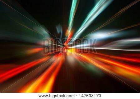 Street And Traffic Light At Night