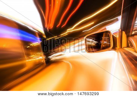 Abstract image of Long exposure night traffic light in the city. Street Night light