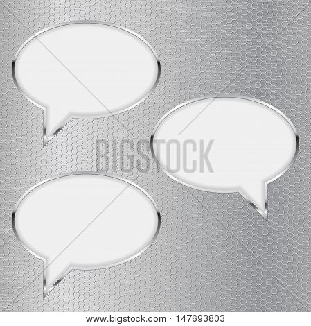 Dialog bubbles on metal grid background. Vector illustration