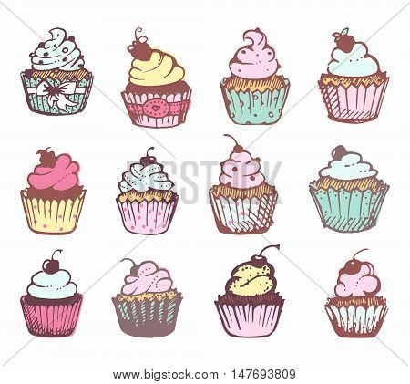 Pictures of cupcakes with cream. Sketch 12 cakes