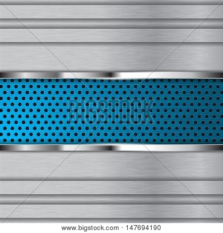 Metal background with blue perforated plate. Vector illustration